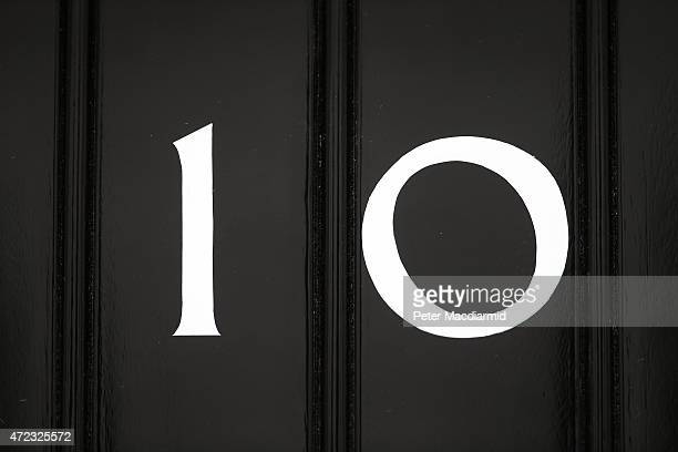 The door to number10 Downing Street in close up on May 6 2015 in London England Britain's political leaders are campaigning on the last day of what...