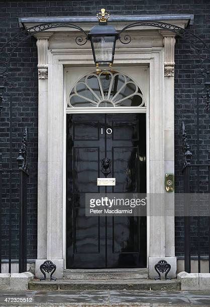 The door to number10 Downing Street on May 6 2015 in London England Britain's political leaders are campaigning on the last day of what is predicted...