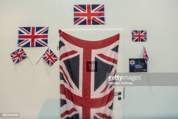 The door to the dressing room of Lucie Jones the contestant from the United Kingdom back stage before the Eurovision Grand Final on May 13 2017 in...