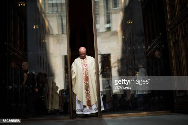 the doors of St Patrick'u2019s Cathedral are closed after the arrival of Cardinal Timothy Dolan for mass during the Annual Easter parade on April 16...