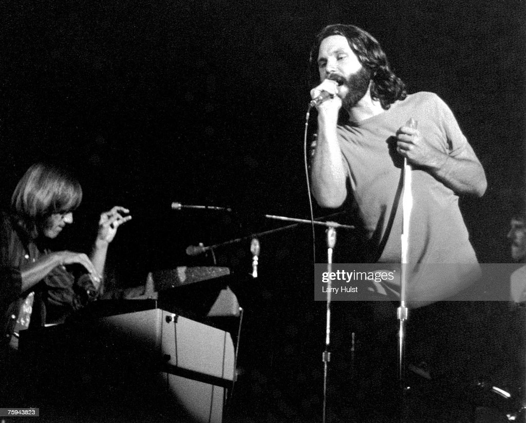 The Doors (L-R Ray Manzarek and Jim Morrison) perform at the San Diego Sports Arena on August 22, 1970 in San Diego, California.