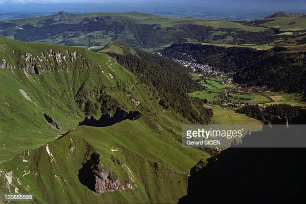 The Dore Mountains the Mont Dore Village in the Background Seen From the Puy De Sancy Auvergne France Puy de Dome the Dore mountains in the regional...