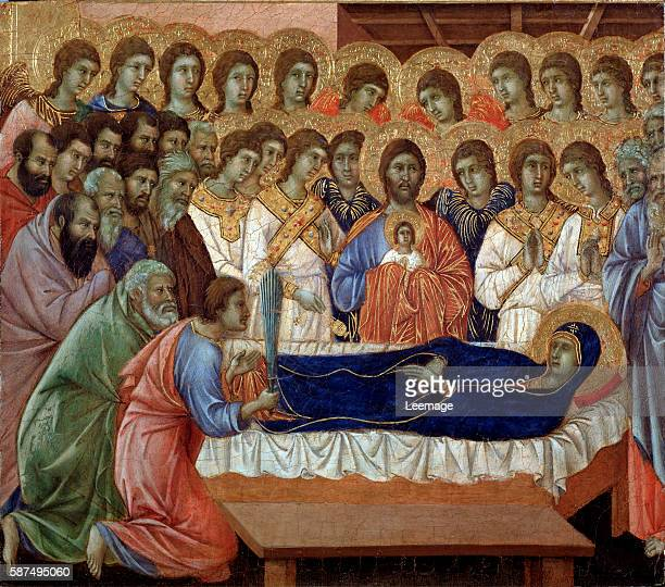 The dormition of the Virgin detail of La Maesta Painting by Duccio di Buoninsegna 13081311 tempera on panel Dim 455x40 cm Museo dell'Opera del Duomo...