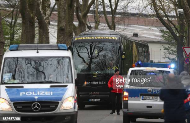 The Dortmund team coach arrives for the UEFA Champions League Quarter Final first leg match between Borussia Dortmund and AS Monaco at Signal Iduna...