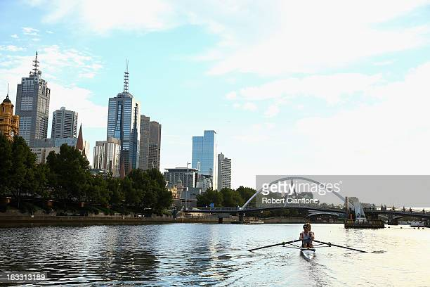 The doubles scull crew from the Mercantile Rowing Club Harrison Casey and Jordan Hooper are seen during a training session on the Yarra River March 6...