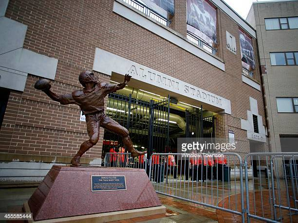 The Doug Flutie statue is seen outside Alumni Stadium before the game between the Boston College Eagles and the USC Trojans on September 13 2014 in...