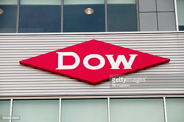 The Dow Chemical logo is shown on a building in downtown Midland home of the Dow Chemical Company corporate headquarters December 10th 2015 in...