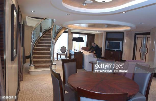 The downstairs area of a Grand Duplex on the world's biggest and most expensive Cunardowned cruise liner the Britishflagged Queen Mary 2 which...