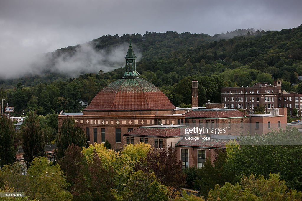 The downtown area is undergoing a small building construction boom as viewed by the number skyline cranes on October 6 2015 in Asheville North...