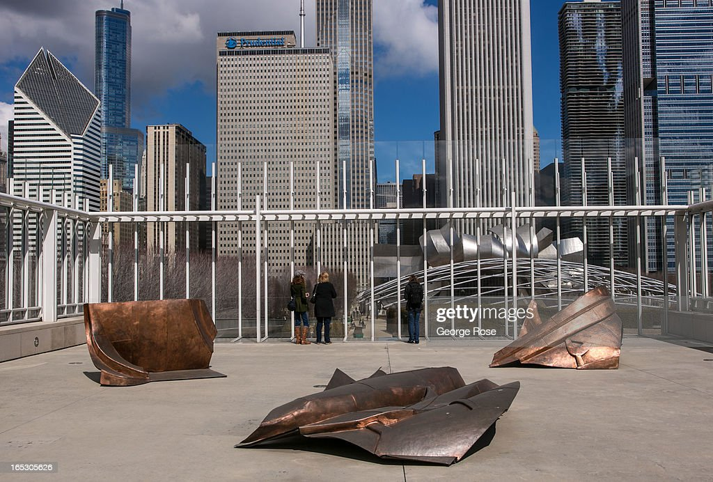 The downtown highrise skyline is viewed from the roof of the Art Institute of Chicago on March 26 2013 in Chicago Illinois Visitors to the Windy City...