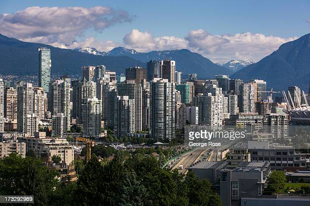 The downtown skyline is viewed from City Hall on June 3 2013 in Vancouver British Columbia Canada Vancouver is a seaport city with close trading ties...