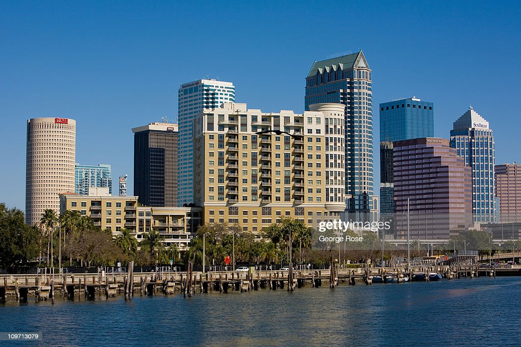 The downtown skyline is viewed from Davis Island on February 14 2011 in Tampa Florida Hit hard by the recent economic downturn Tampa is slowly luring...