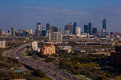The downtown skyline is viewed from the Renaissance Hotel off Stemmons Highway on March 20 2013 in Dallas Texas Dallas a major hub of technology...
