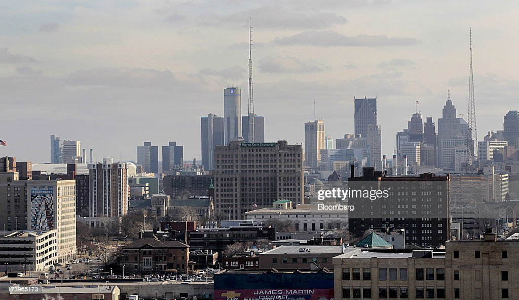 The downtown skyline stands in Detroit, Michigan, U.S., on Thursday, Feb. 21, 2013. Detroit became the biggest U.S. city to file for bankruptcy on July 18, 2013, seeking court protection from creditors while it tries to eliminate a budget deficit and cut long-term debt. Photographer: Jeff Kowalsky/Bloomberg via Getty Images