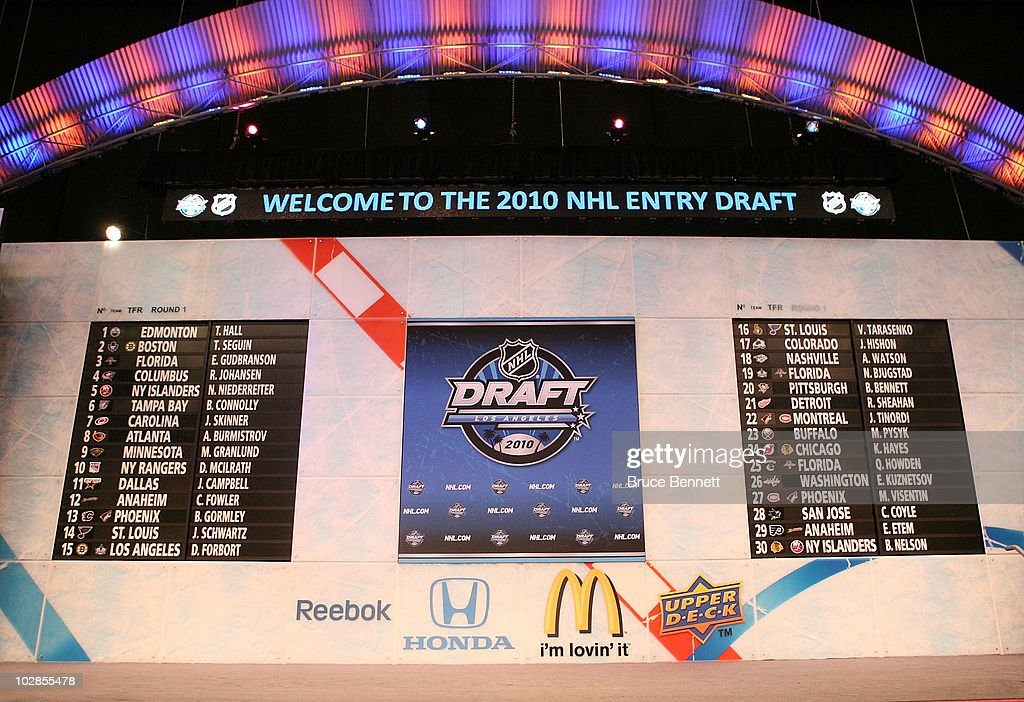 The draft board following the first round during the 2010 NHL Entry Draft at Staples Center on June 25, 2010 in Los Angeles, California.