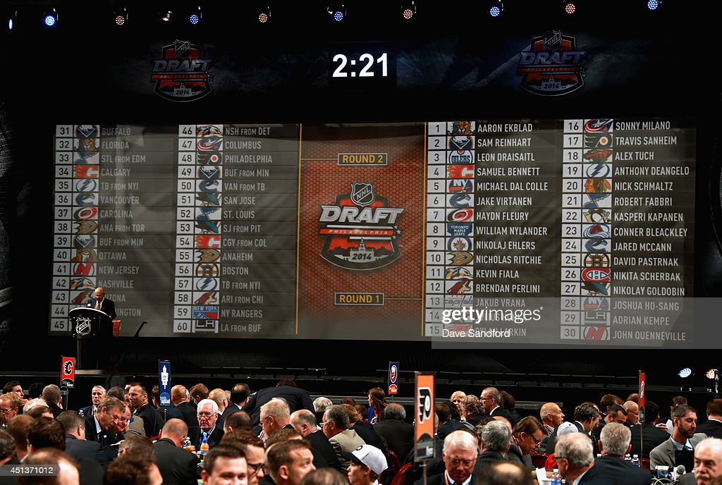 The draft board is seen during round two of the 2014 NHL Entry Draft at Wells Fargo Center on June 28, 2014 in Philadelphia, Pennsylvania.
