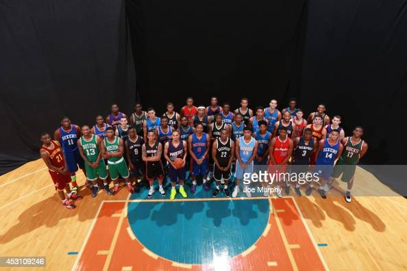 The Draft Class poses for a portrait during the 2014 NBA rookie photo shoot on August 3 2014 at the Madison Square Garden Training Facility in...