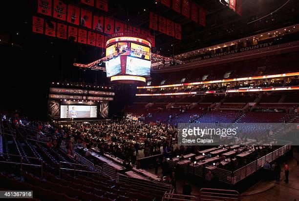 The draft floor is seen during the 2014 NHL Entry Draft at Wells Fargo Center on June 28 2014 in Philadelphia Pennsylvania