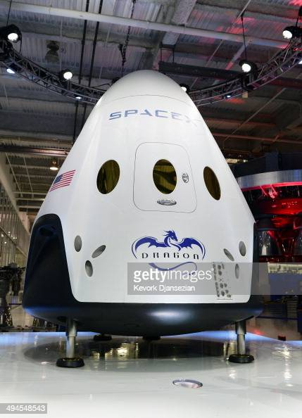 The Dragon V2 manned spacecraft is unveiled at the company's headquarters by SpaceX CEO Elon Musk during a news conference on May 29 in Hawthorne...