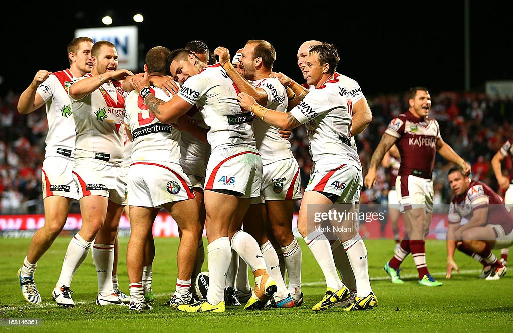 The Dragons celebrate a try by Chase Stanley during the round eight NRL match between the St George Illawarra Dragons and the Manly Sea Eagles at WIN Jubilee Stadium on May 6, 2013 in Sydney, Australia.