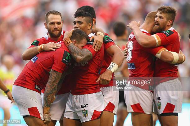 The Dragons celebrate victory during the round four NRL match between the St George Illawarra Dragons and the Penrith Panthers at WIN Stadium on...