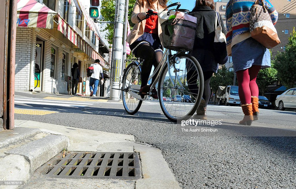 The drainage strainer, where the suspect had set an 8-centimeter-long and 3-centimeter-width small video camera with a magnet, is seen on October 25, 2012 in Kyoto, Japan. The suspect admitted the allegation that he aimed to shoot upskirt video of young women, as the crossroad is located near female colleges.