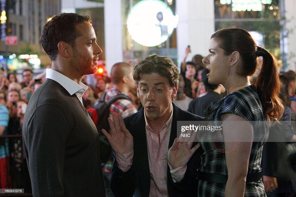 SMASH -- 'The Dramaturg' Episode 203 -- Pictured: (l-r) Daniel Sunjata as Peter Gilman, Christian Borle as Tom Levitt, Debra Messing as Julia Houston --