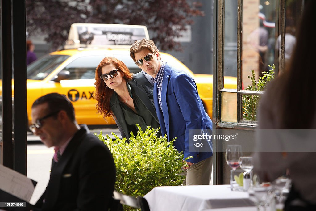 SMASH -- 'The Dramaturg' Episode 203 -- Pictured: (l-r) Debra Messing as Julia Houston, Christian Borle as Tom Levitt --
