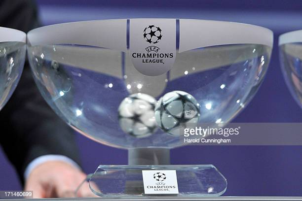 The draw ball await during the UEFA Champions League Q2 qualifying round draw at the UEFA headquarters on June 24 2013 in Nyon Switzerland