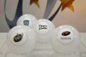 The draw balls shows pool 1 containing Saracens Munster Rugby ASM Clermont Auvergne and Sale Sharks after the pool draw for the 2014/2015 European...