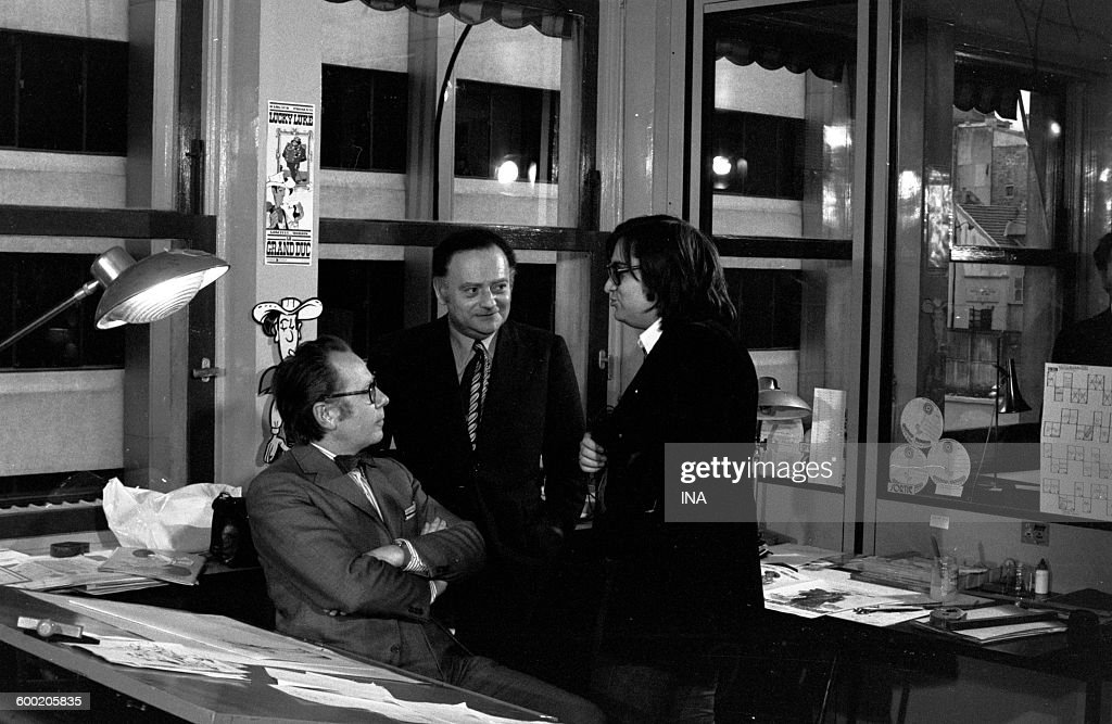 The drawer Morris René Goscinny and Gérard Jourd' hui during the recording of the television program 'budding Cinema'