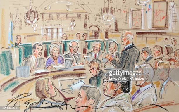 The drawing by Court Artist Priscilla Coleman from the Supreme Court where she had a brush with legal history today when she was allowed to sketch...