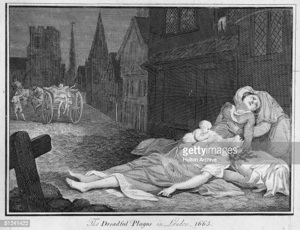1665 The dreadful plague in London A family lies dead and dying in the street while a cart carries away corpses of those who have already succumbed...