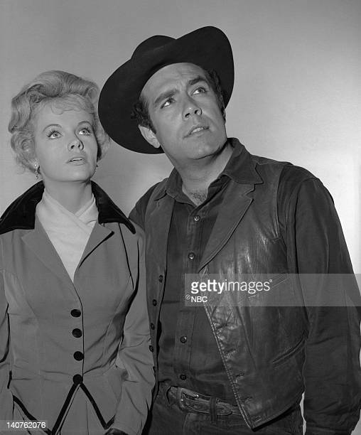 BONANZA 'The Dream Riders' Episode 32 Pictured Diana Millay as Diana Cayley Pernell Roberts as Adam Cartwright Photo by Herb Ball/NBC/NBCU Photo Bank