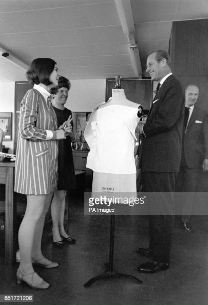 The dress dummy brought a quip from Prince Philip The Duke of Edinburgh and a laugh in response from miniskirted dress design student Pat Willis of...