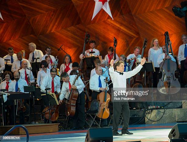 The dress rehearsal for the July 4th celebration with the Boston Pops conducted by Keith Lockhart at the Hatch Shell on the Charles River Esplanade...