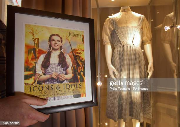 The dress that Judy Garland wore in the Wizard of Oz film The dress is on display at the Stafford Hotel in London before being auctioned in Beverly...