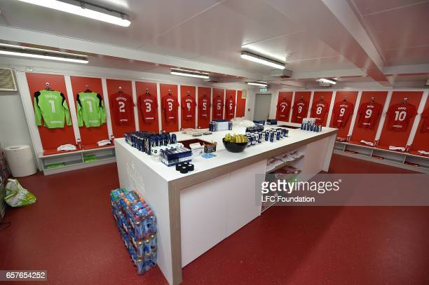The Dressing Room before the Liverpool Legends during the LFC Foundation Charity Match between Liverpool Legends and Real Madrid Legends at Anfield...