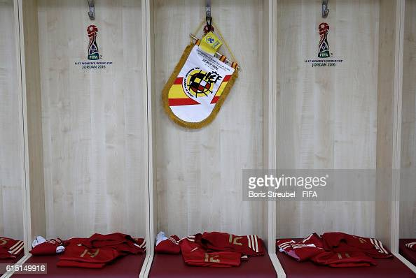 The dressing room of Spain is pictured prior to the FIFA U17 Women's World Cup Semi Final match between Spain and Japan at King Abdullah II...