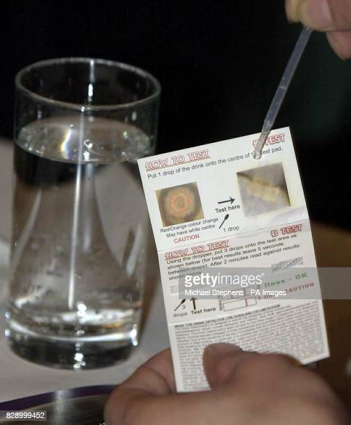 The Drink Detective a device which allows people to test their drinks for drugs on display at the Law Society London The matchboxsized kit is...
