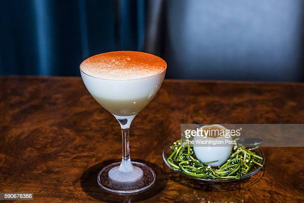 The drink titled 'The Watercourse Way' is made of Japanese whisky medium sherry bergamot honey lime egg white red sandalwood egg custard dashi broth...