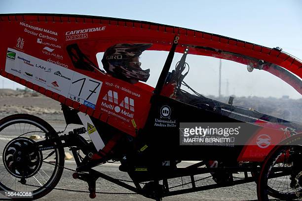 The driver of the Chilean team Unab competes in the first stage of the Atacama Solar Challenge a solar car race in the Atacama Desert in northern...