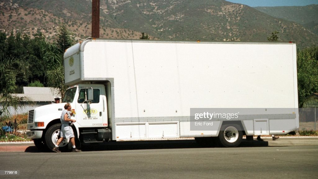 The driver of this moving truck containing Anne Heche's property prepares to drive to the new home September 15 2000 in Ojai CA