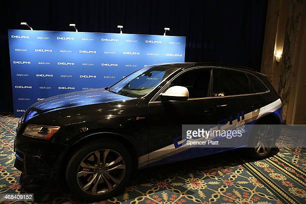 The driverless specially outfitted Audi Q5 sportutility vehicle is displayed at the Waldorf Astoria following the car's return from a cross country...