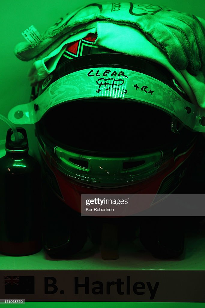 The drivers helmet of Brendon Hartley of New Zealand and Murphy Prototypes is seen during previews for the Le Mans 24 Hour race at the Circuit de la Sarthe on June 21, 2013 in Le Mans, France.