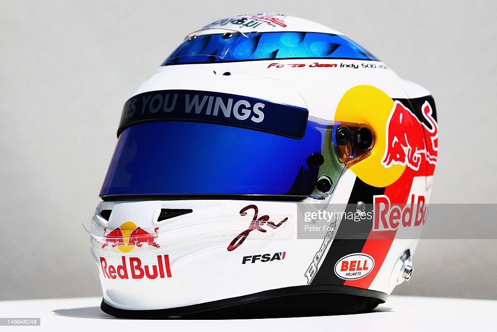 The drivers helmet of Jean-Eric Vergne of France and Scuderia Toro Rosso is seen with insignia representing the participation of Jean Alesi in the Indianapolis 500 during previews to the Monaco Formula One Grand Prix at the Monte Carlo Circuit on May 23, 2012 in Monte Carlo, Monaco.