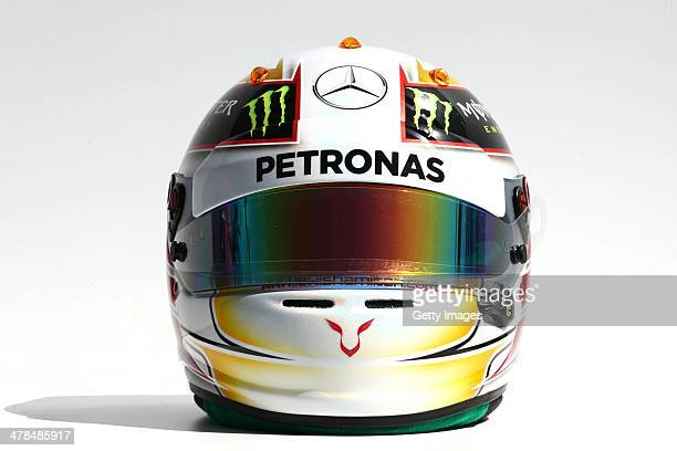The drivers helmet of Lewis Hamilton of Great Britain and Mercedes GP during previews to the Australian Formula One Grand Prix at Albert Park on...