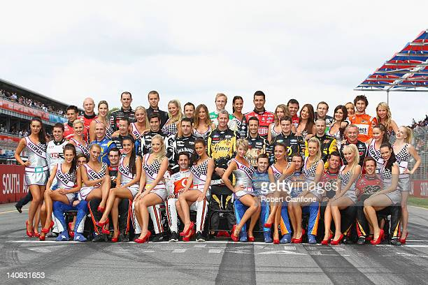 The drivers in the 2012 V8 Supercar Championship pose for an official photo with the grid girls prior to race two for the Clipsal 500 which is round...