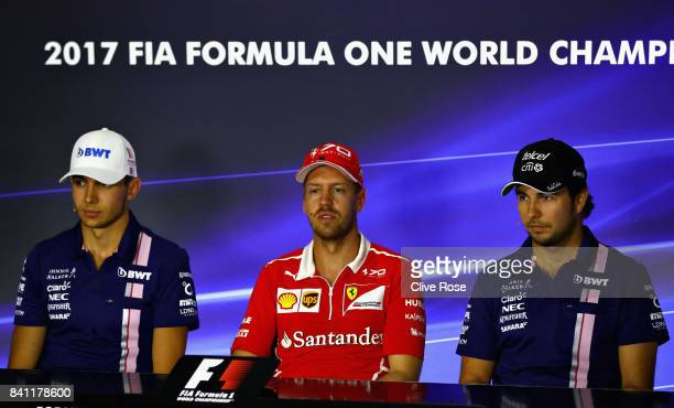 The Drivers Press Conference featuring Esteban Ocon of France and Force India Sebastian Vettel of Germany and Ferrari and Sergio Perez of Mexico and...
