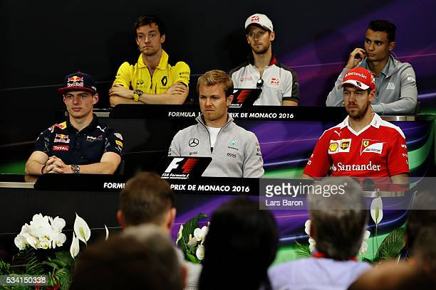 The Drivers Press Conference featuring Max Verstappen of Netherlands and Red Bull Racing Nico Rosberg of Germany and Mercedes GP Sebastian Vettel of...